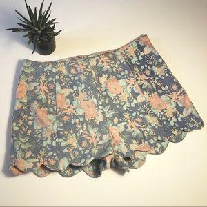 Lush Small floral pastel shorts scalloped bottom